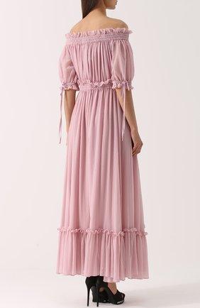 Шелковое платье с драпировкой и открытыми плечами Alexander McQueen розовое | Фото №4