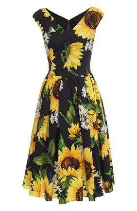 Приталенное платье-миди с цветочным принтом Dolce & Gabbana желтое | Фото №1