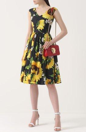 Приталенное платье-миди с цветочным принтом Dolce & Gabbana желтое | Фото №2