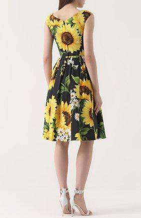 Приталенное платье-миди с цветочным принтом Dolce & Gabbana желтое | Фото №3