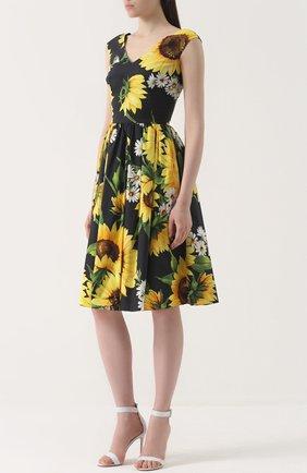 Приталенное платье-миди с цветочным принтом Dolce & Gabbana желтое | Фото №4