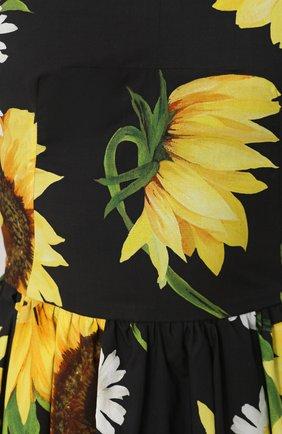 Приталенное платье-миди с цветочным принтом Dolce & Gabbana желтое | Фото №5