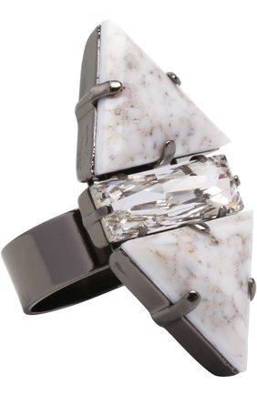 Кольцо с камнями и кристаллом | Фото №1