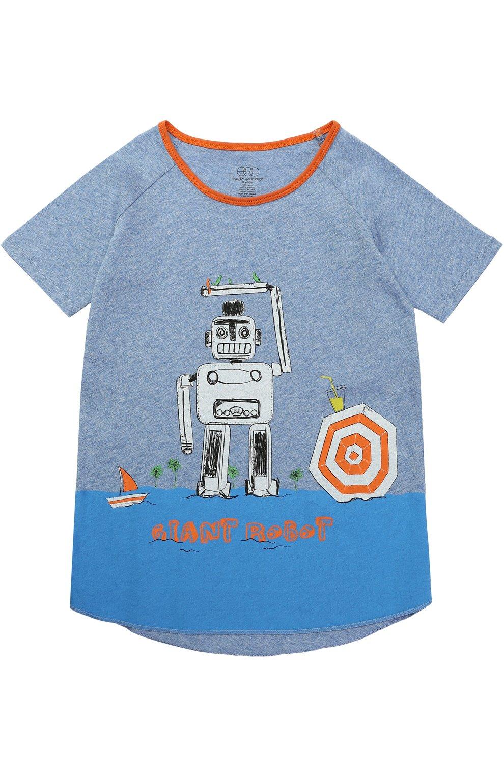 Детская хлопковая футболка с принтом Egg By Susan Lazar голубого цвета  d65940f8d9e96