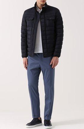 Хлопковые брюки прямого кроя Dolce & Gabbana голубые | Фото №2