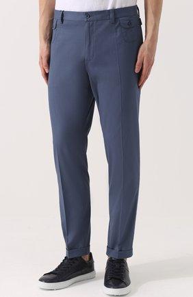 Хлопковые брюки прямого кроя Dolce & Gabbana голубые | Фото №3