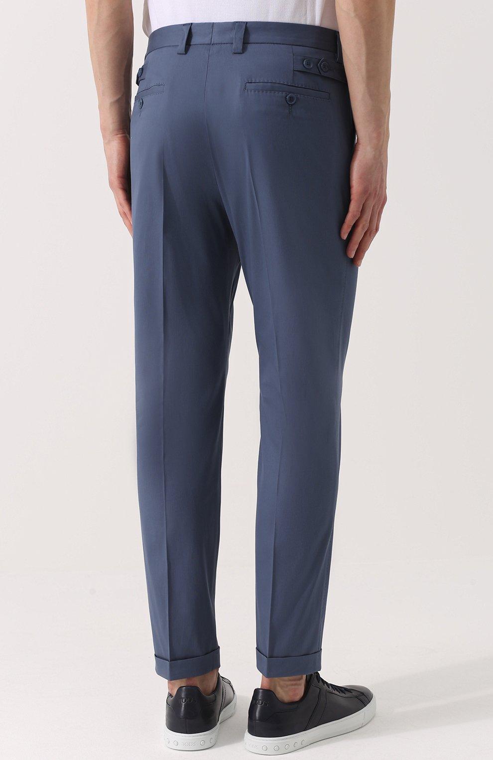 Хлопковые брюки прямого кроя Dolce & Gabbana голубые | Фото №4