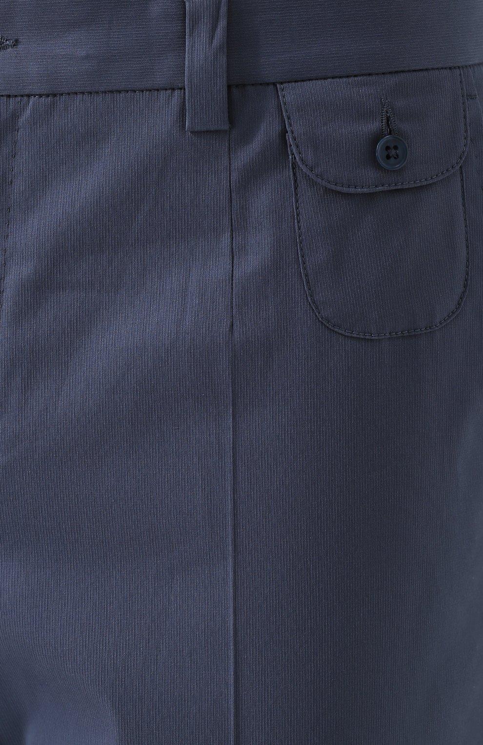 Хлопковые брюки прямого кроя Dolce & Gabbana голубые | Фото №5