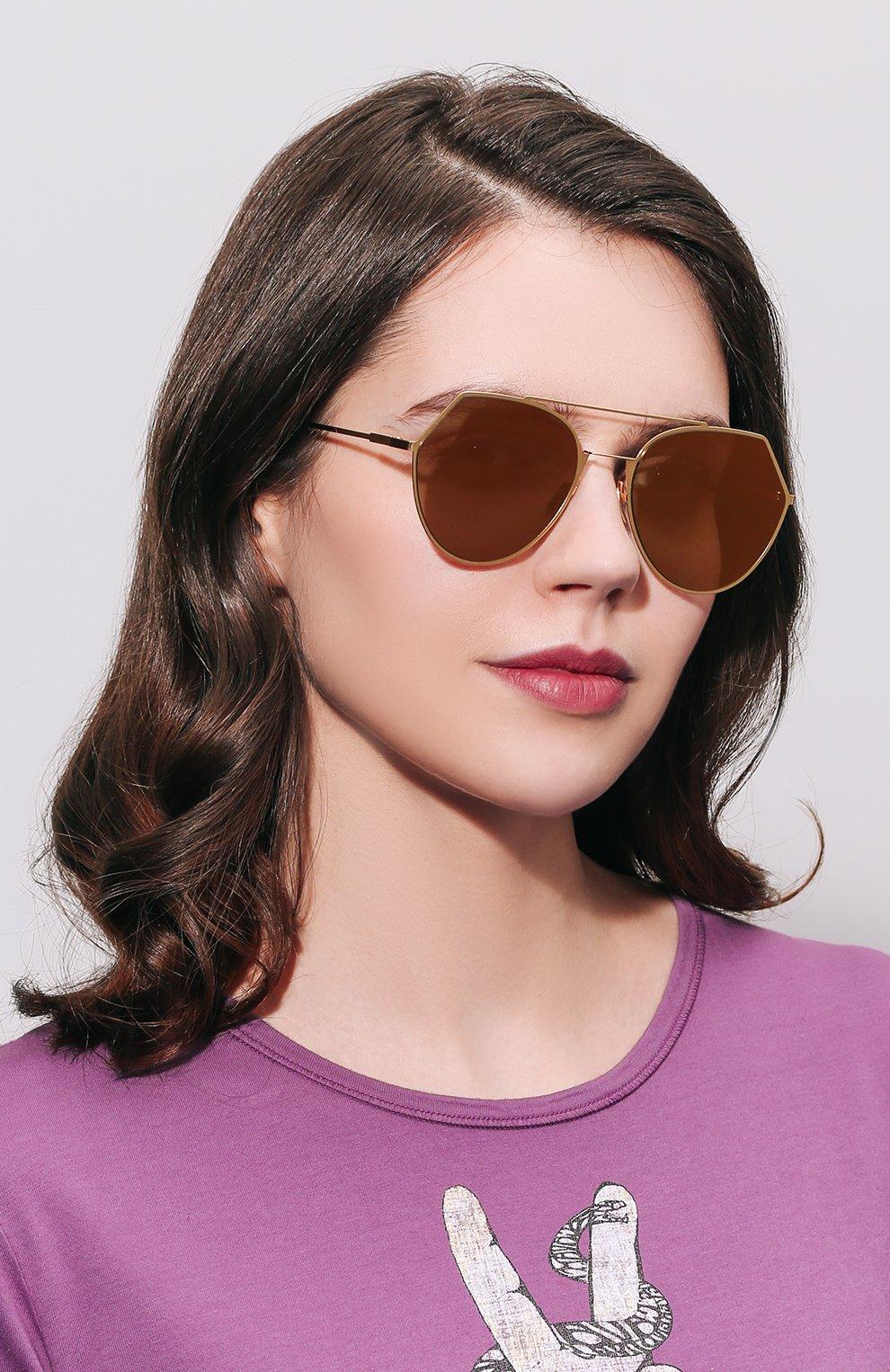 Солнцезащитные очки Fendi золотые | Фото №3