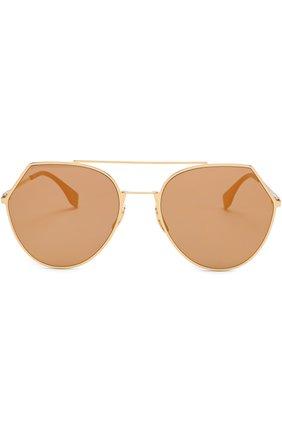 Солнцезащитные очки Fendi золотые | Фото №4