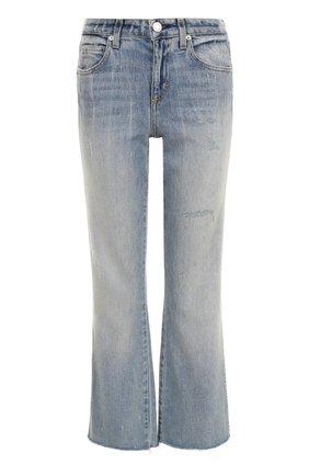 Укороченные расклешенные джинсы с потертостями AMO голубые   Фото №1