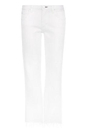 Укороченные расклешенные джинсы с потертостями AMO белые   Фото №1