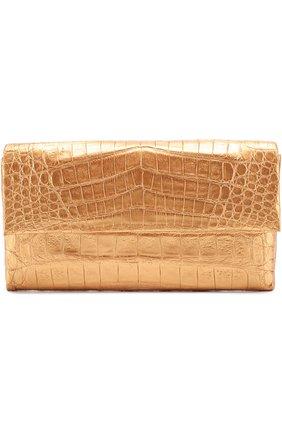 Клатч из металлизированной кожи каймана Nancy Gonzalez золотого цвета | Фото №1