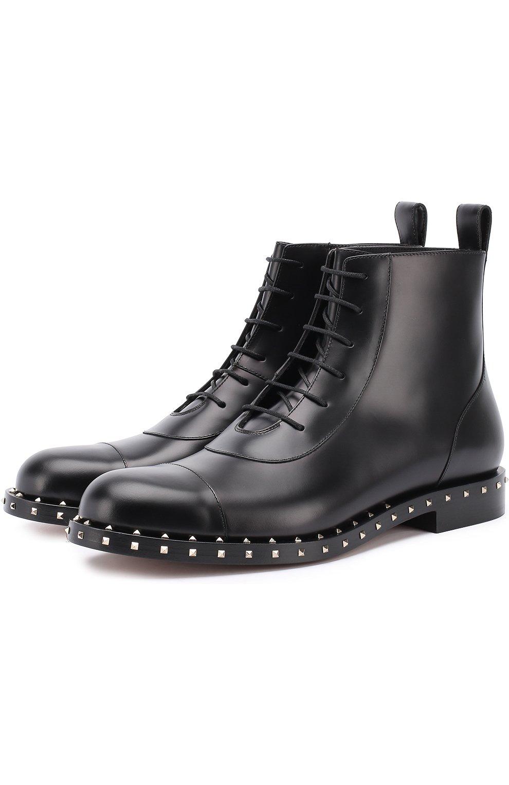 Мужские черные кожаные ботинки valentino garavani rockstud на ... 860fd40c0a9