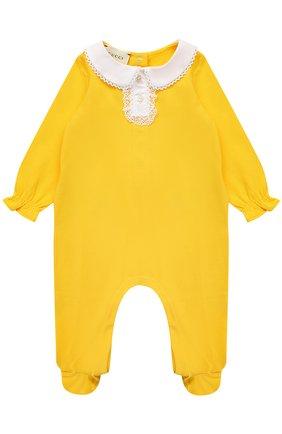 Хлопковая пижама с кружевной отделкой | Фото №1