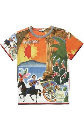 Детская хлопковая футболка с принтом Dolce & Gabbana разноцветного цвета | Фото №1