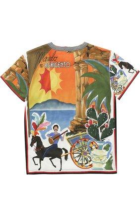 Детская хлопковая футболка с принтом Dolce & Gabbana разноцветного цвета | Фото №2