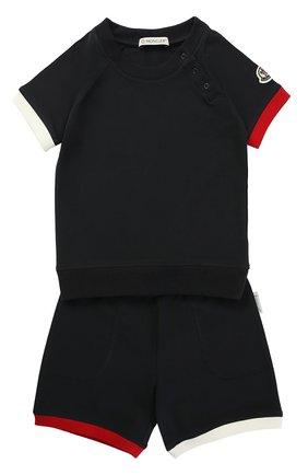 Детский хлопковый комплект из футболки и шорт MONCLER ENFANT темно-синего цвета, арт. C1-951-88066-05-8790A | Фото 1