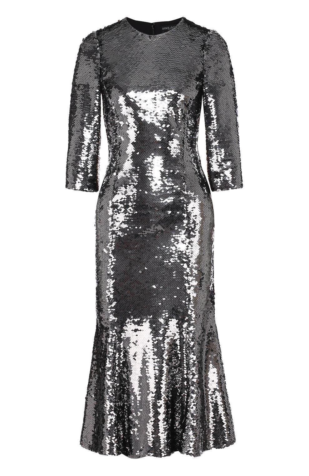 Приталенное платье с укороченным рукавом и пайетками   Фото №1
