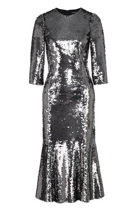 Приталенное платье с укороченным рукавом и пайетками Dolce & Gabbana серебряное   Фото №1