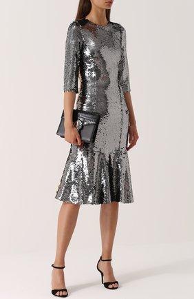 Приталенное платье с укороченным рукавом и пайетками Dolce & Gabbana серебряное   Фото №2