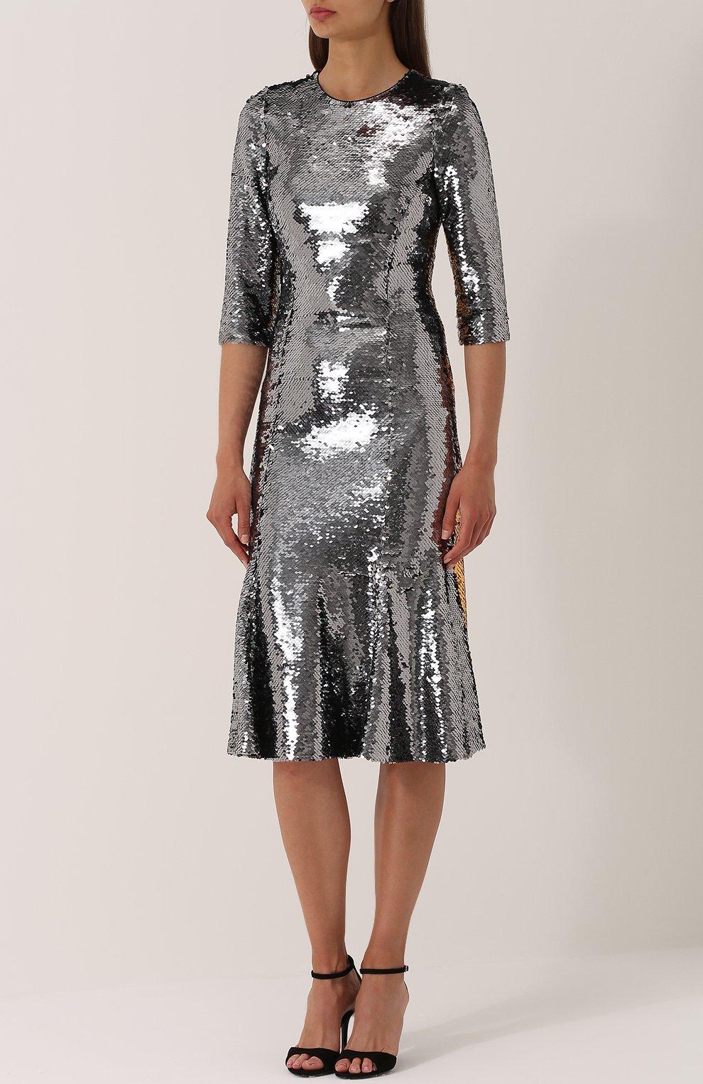 Приталенное платье с укороченным рукавом и пайетками Dolce & Gabbana серебряное   Фото №3