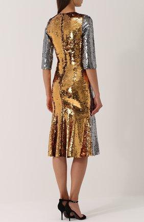 Приталенное платье с укороченным рукавом и пайетками Dolce & Gabbana серебряное   Фото №4