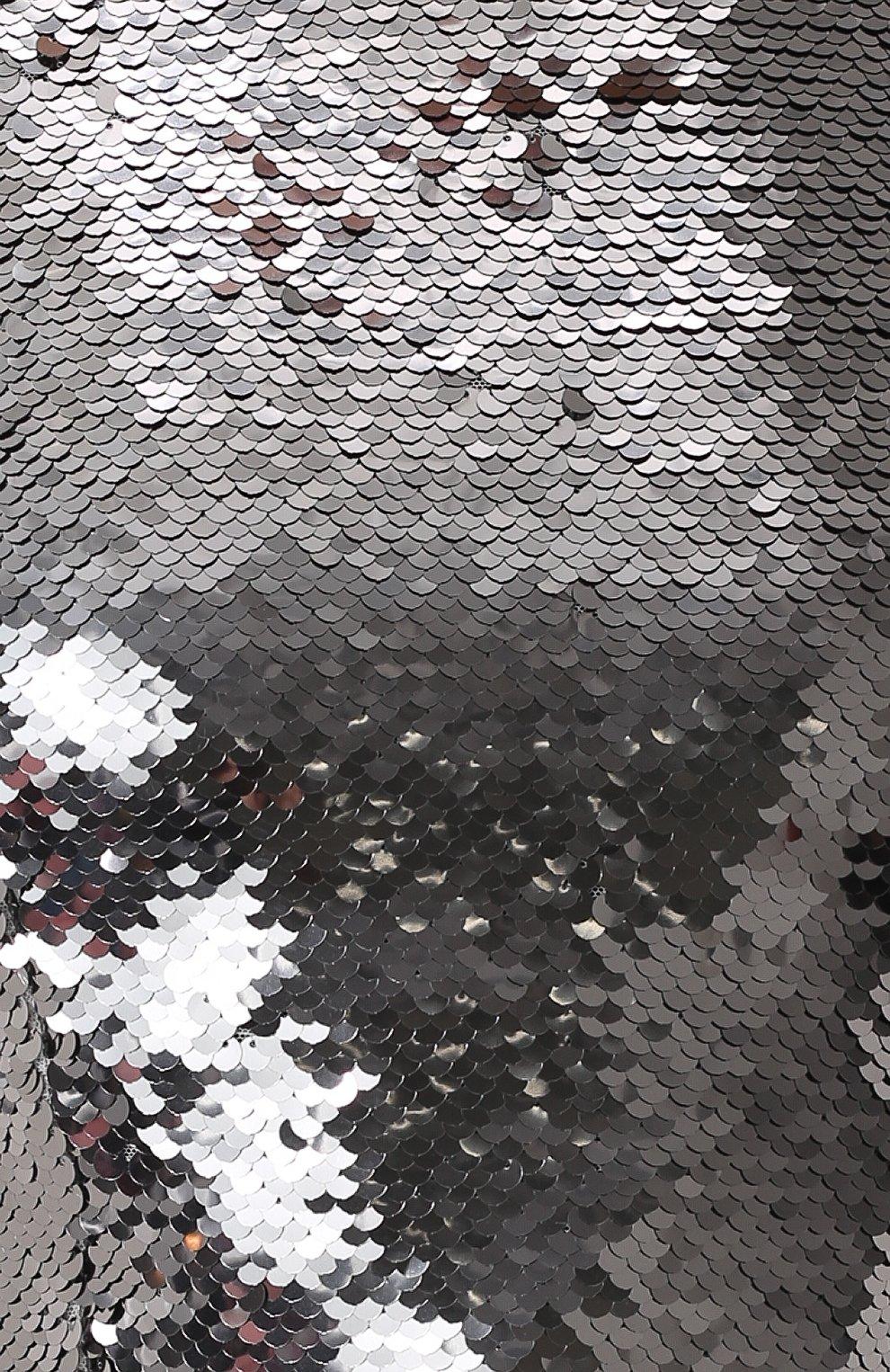 Приталенное платье с укороченным рукавом и пайетками Dolce & Gabbana серебряное   Фото №5