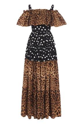 Платье-макси с открытыми плечами и оборкой Dolce & Gabbana коричневое   Фото №1