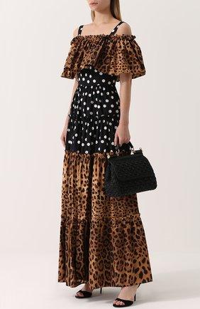 Платье-макси с открытыми плечами и оборкой Dolce & Gabbana коричневое   Фото №2