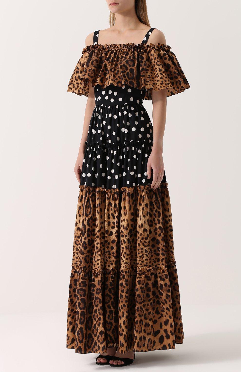 Платье-макси с открытыми плечами и оборкой Dolce & Gabbana коричневое   Фото №3