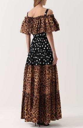 Платье-макси с открытыми плечами и оборкой Dolce & Gabbana коричневое   Фото №4