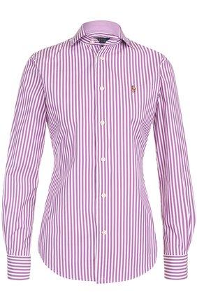 Приталенная хлопковая блуза в полоску | Фото №1