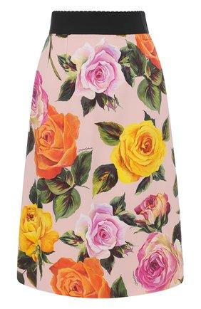 Юбка с контрастным поясом и цветочным принтом Dolce & Gabbana розовая | Фото №1