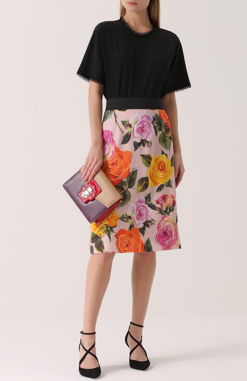 Юбка с контрастным поясом и цветочным принтом Dolce & Gabbana розовая | Фото №2