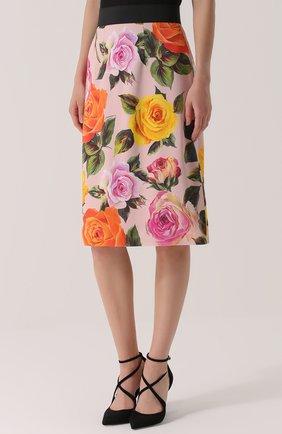 Юбка с контрастным поясом и цветочным принтом Dolce & Gabbana розовая | Фото №3