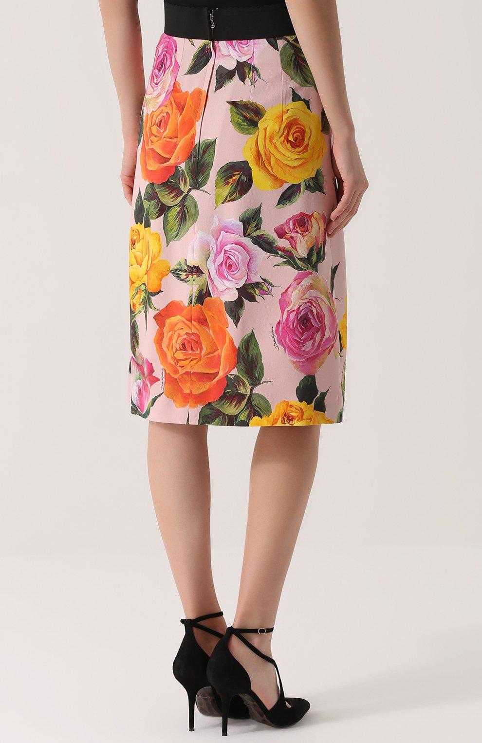 Юбка с контрастным поясом и цветочным принтом Dolce & Gabbana розовая | Фото №4