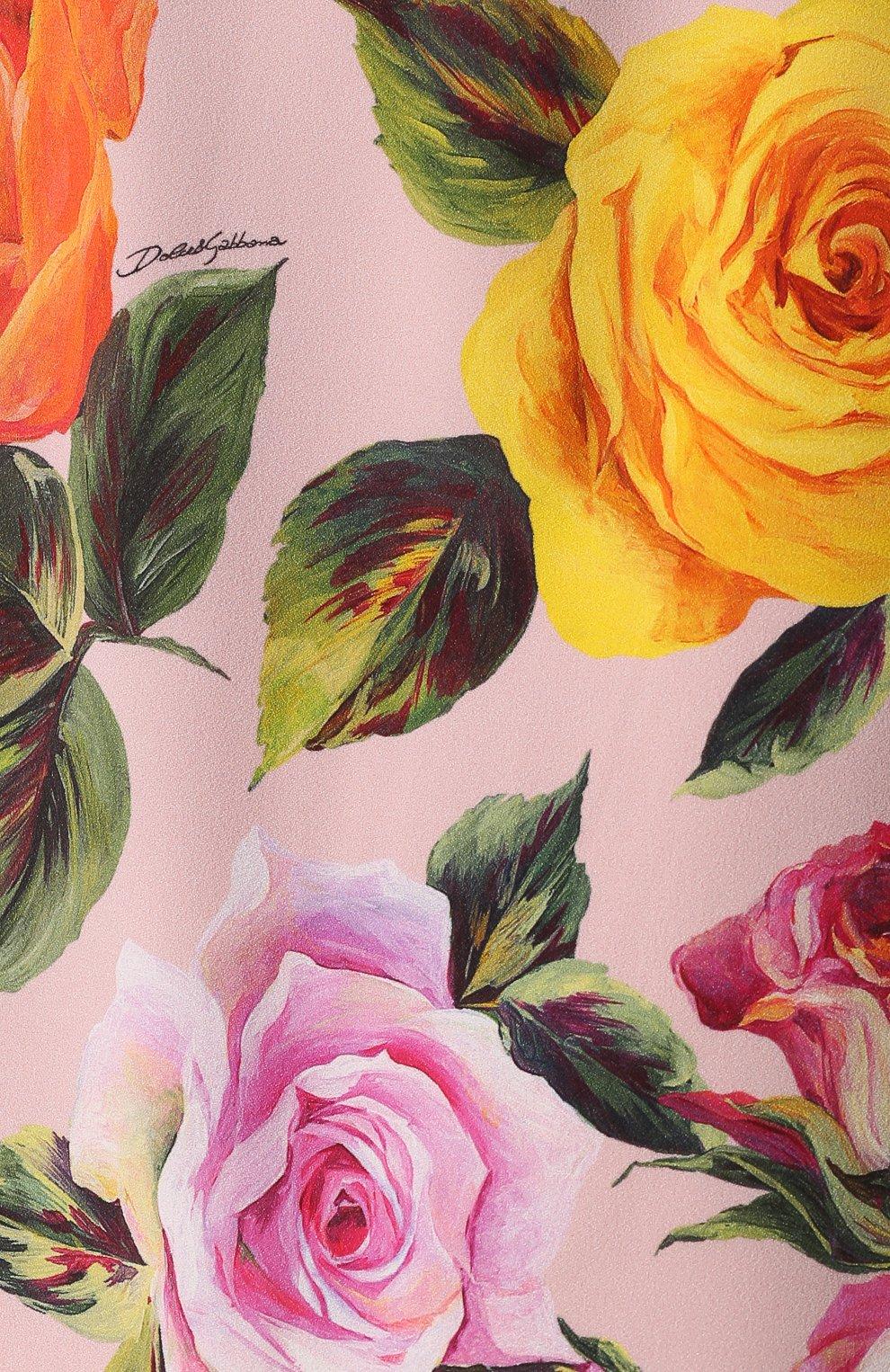 Юбка с контрастным поясом и цветочным принтом Dolce & Gabbana розовая | Фото №5