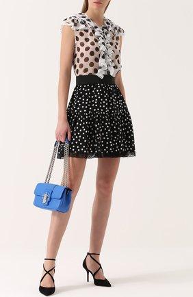 Шелковая блуза в горох с оборками Dolce & Gabbana черно-белая | Фото №2