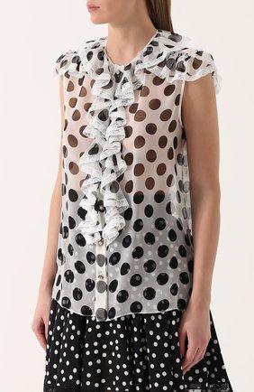 Шелковая блуза в горох с оборками Dolce & Gabbana черно-белая | Фото №3