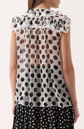 Шелковая блуза в горох с оборками Dolce & Gabbana черно-белая | Фото №4