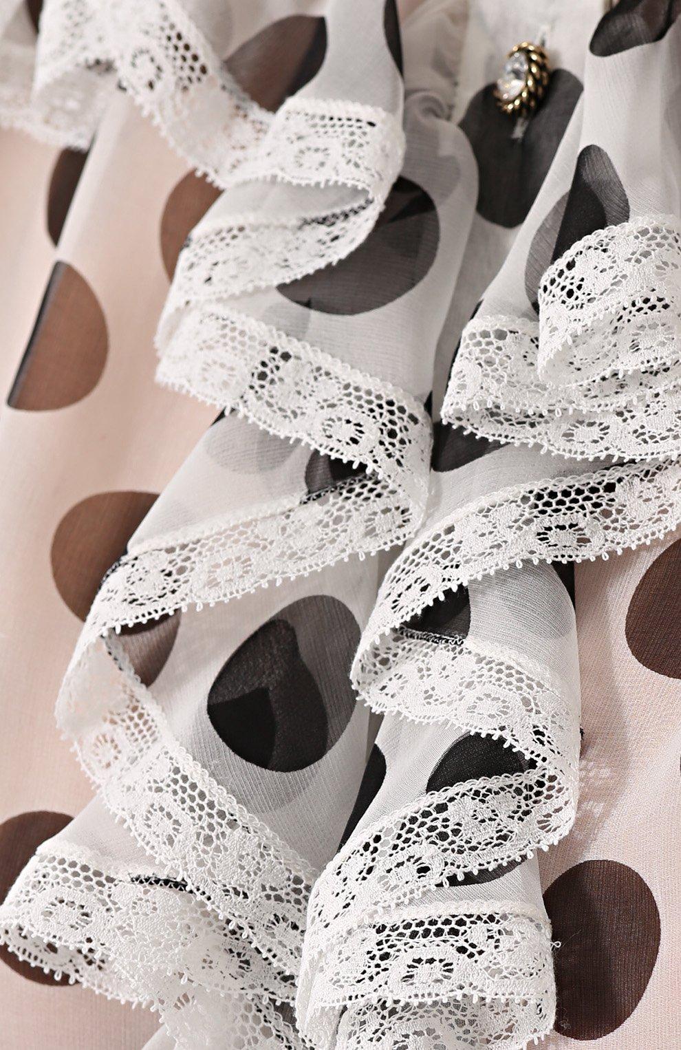 Шелковая блуза в горох с оборками Dolce & Gabbana черно-белая | Фото №5
