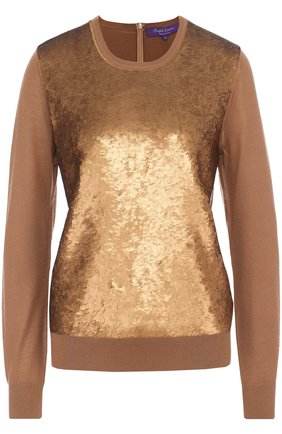 Кашемировый пуловер с пайетками Ralph Lauren коричневый | Фото №1