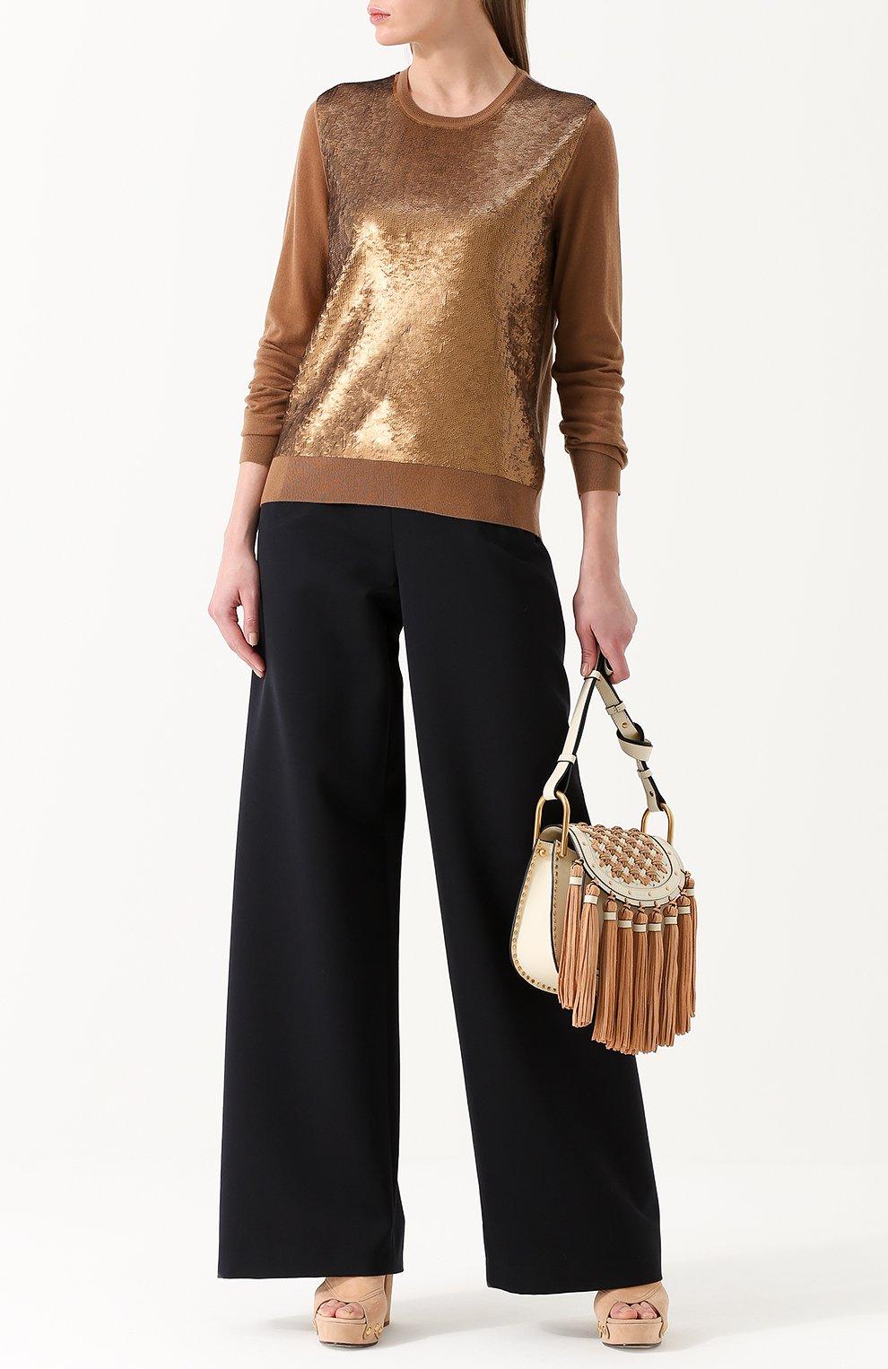 Кашемировый пуловер с пайетками Ralph Lauren коричневый | Фото №2