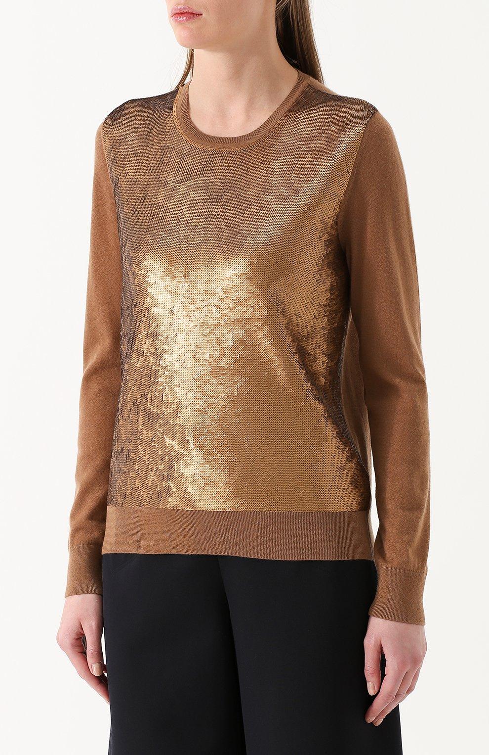 Кашемировый пуловер с пайетками | Фото №3
