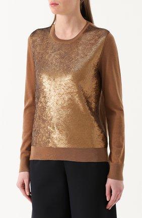 Кашемировый пуловер с пайетками Ralph Lauren коричневый | Фото №3
