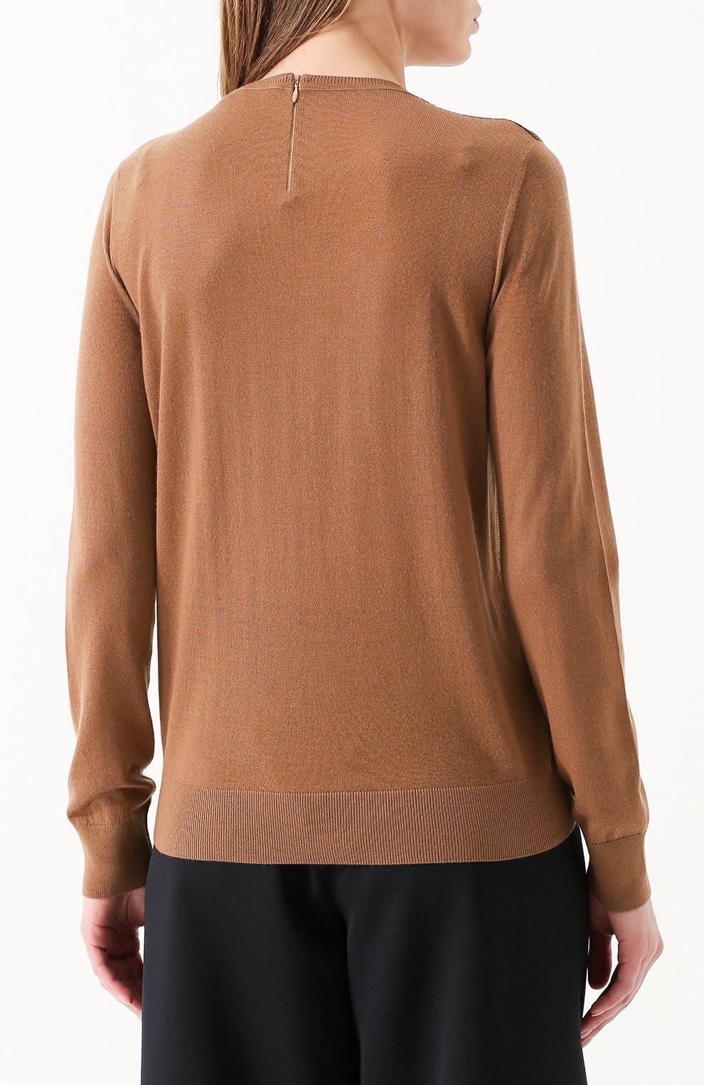 Кашемировый пуловер с пайетками Ralph Lauren коричневый | Фото №4