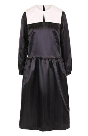Приталенное платье-миди с контрастным воротником Comme des Garcons GIRL черно-белое | Фото №1