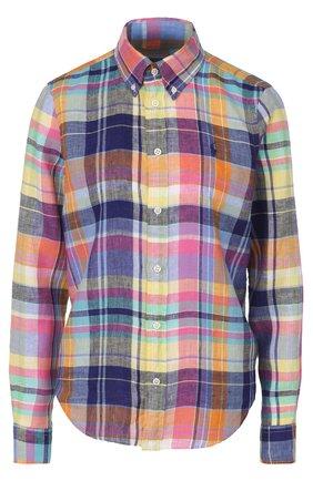 Льняная блуза в клетку с вышитым логотипом бренда   Фото №1