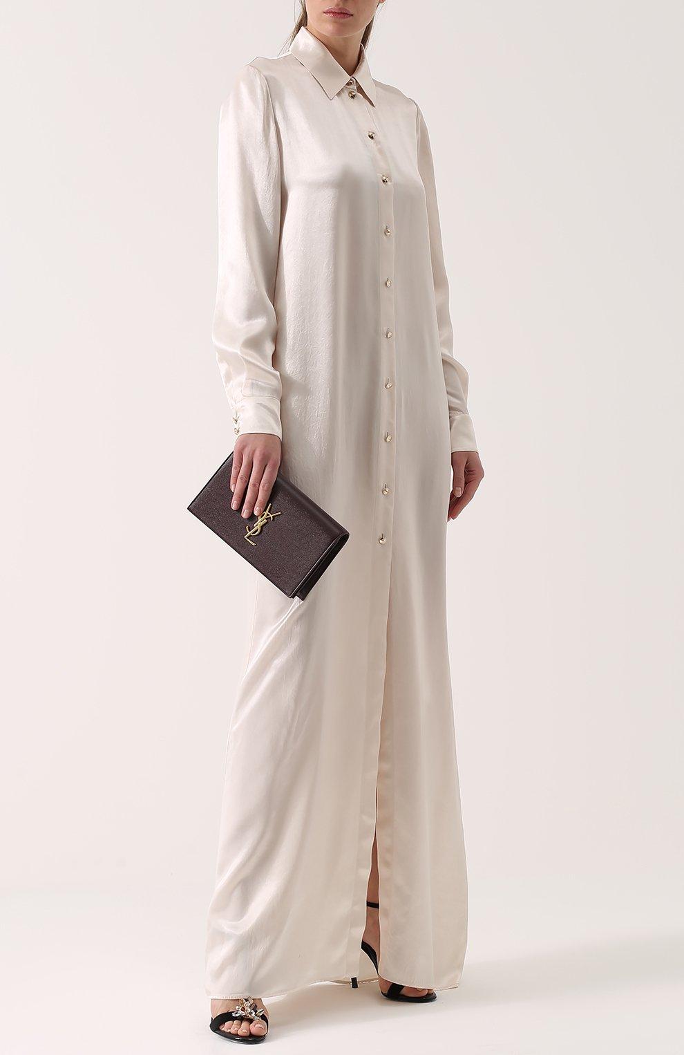 Платье-рубашка в пол с длинным рукавом | Фото №2